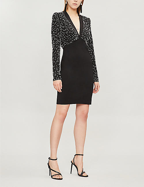 GIVENCHY Pearl-embellished crepe mini dress