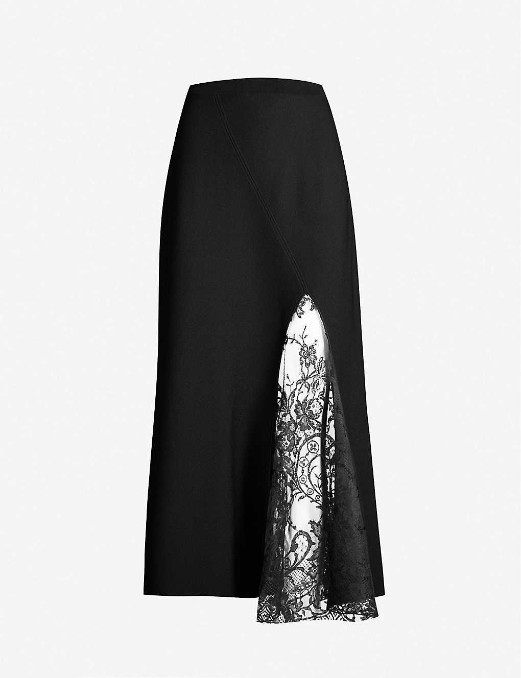 d39cb5853c GIVENCHY - High-waist floral-lace and crepe midi skirt   Selfridges.com
