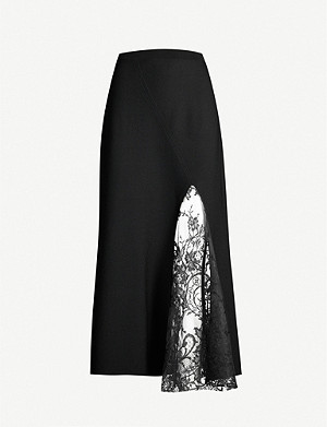 GIVENCHY High-waist floral-lace and crepe midi skirt