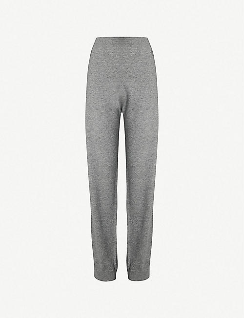 7d2d8650f GIVENCHY Logo-embroidered straight high-rise cashmere-blend trousers
