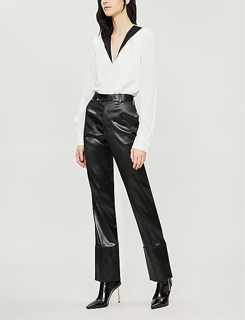 GIVENCHY Two-tone silk-crepe top