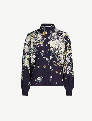GIVENCHY Show floral-print silk-crepe shirt