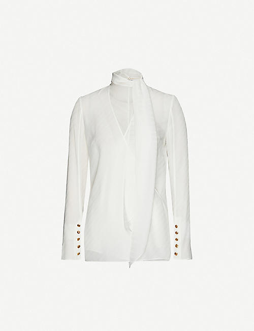 GIVENCHY Self-tie logo-print silk-crepe shirt