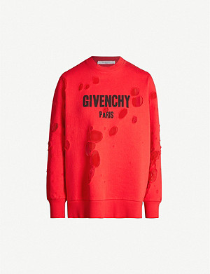 GIVENCHY Destroyed logo cotton-jersey sweatshirt