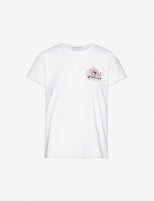 GIVENCHY: Logo-embroidered cotton-jersey T-shirt