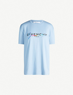 GIVENCHY Rainbow logo-embroidered cotton-jersey T-shirt