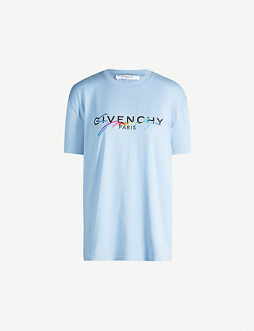 cb8c996c GIVENCHY Rainbow logo-embroidered cotton-jersey T-shirt