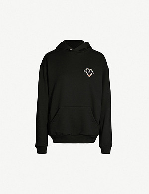 GIVENCHY Heart logo-embroidered cotton-jersey hoody