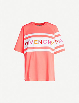GIVENCHY: Brand-embroidered cotton-blend jersey T-shirt