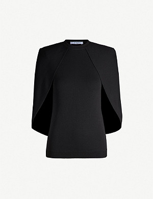 GIVENCHY Cape-overlay crepe top