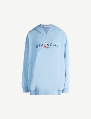 GIVENCHY Rainbow logo-embroidered cotton hoody