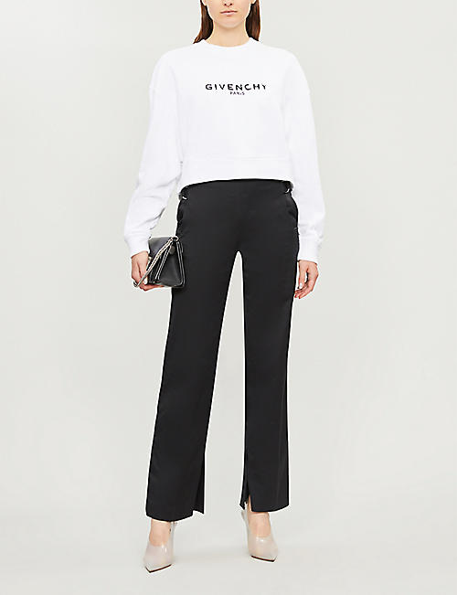 8ea54ca81 GIVENCHY Logo-print cropped cotton-jersey sweatshirt
