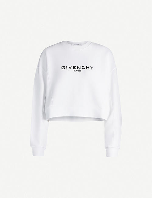 GIVENCHY Logo-print cropped cotton-jersey sweatshirt
