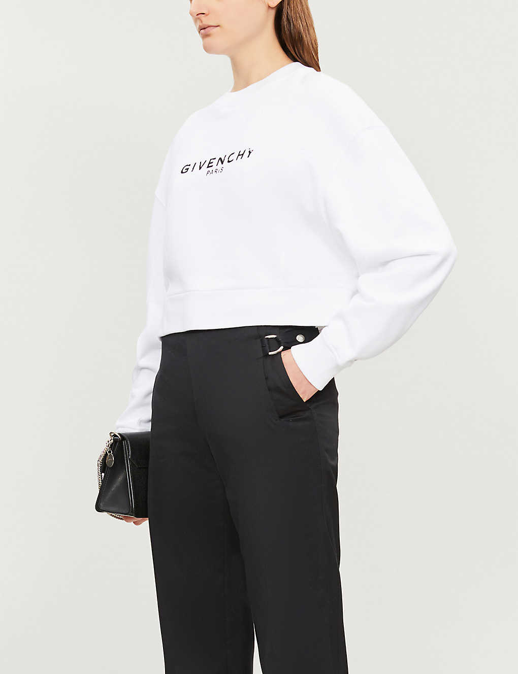 GIVENCHY: Logo-print cropped cotton-jersey sweatshirt