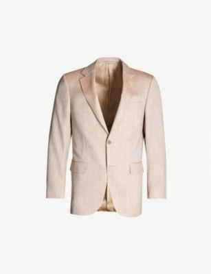 CANALI Textured tailored-fit wool silk and linen-blend blazer