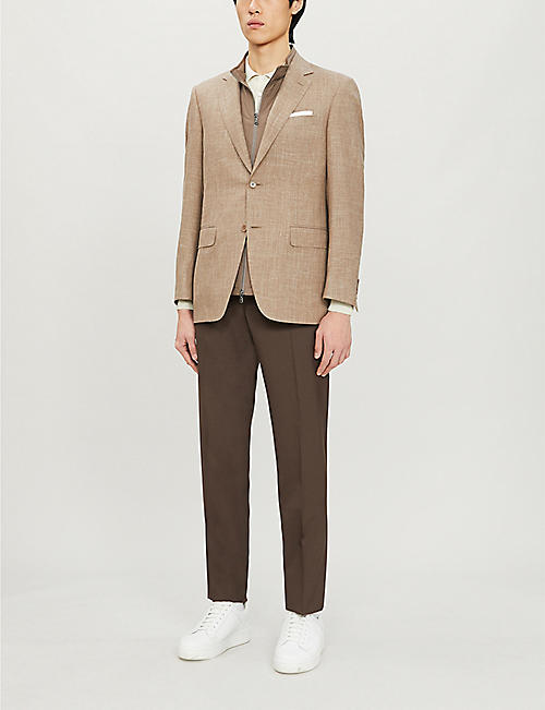 CANALI Slim-fit tapered stretch-cotton trousers