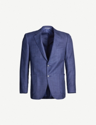 CANALI Contrast regular-fit wool and silk-blend blazer