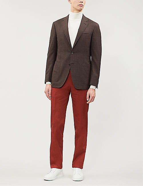 CANALI Kei checked regular-fit wool blazer