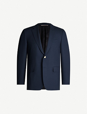 CANALI Single-breasted hopsack wool blazer