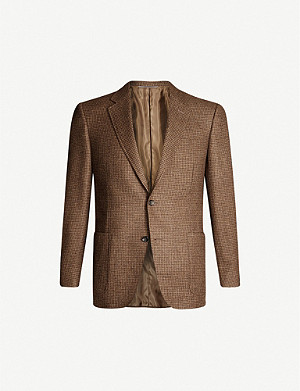 CANALI Checked regular-fit cashmere blazer