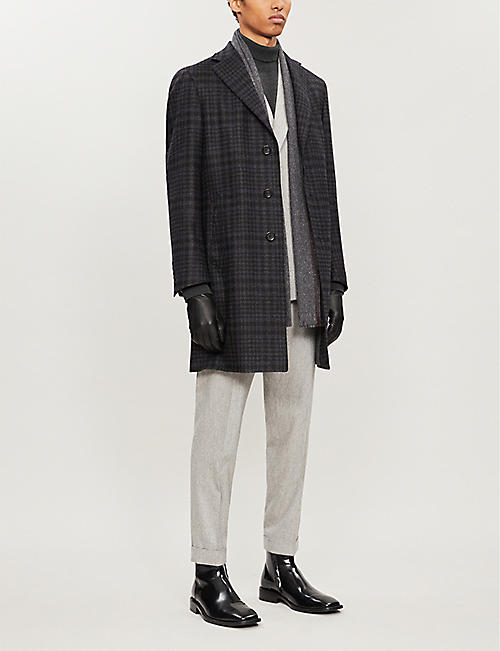 CANALI Checked wool overcoat
