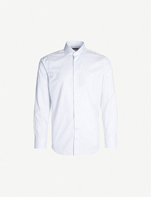 CANALI Striped regular-fit cotton shirt