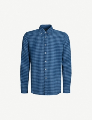 CANALI Checked modern-fit linen shirt