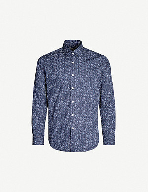 CANALI Flower-print regular-fit cotton shirt