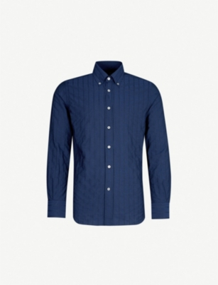 CANALI Contrast-stripe modern-fit cotton shirt