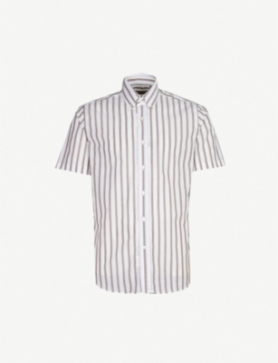 CANALI Striped modern-fit short-sleeved cotton shirt