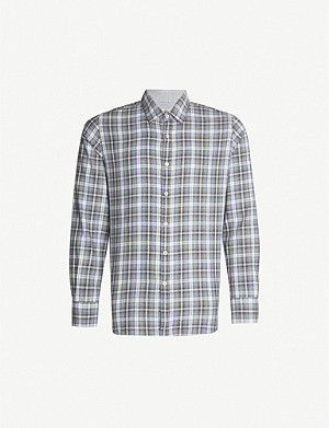 CANALI Modern-fit check cotton shirt