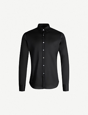 CANALI Semi-sheer slim-fit cotton shirt