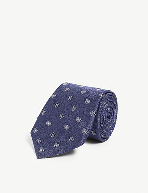 CANALI Paisley and contrasting flower print silk tie