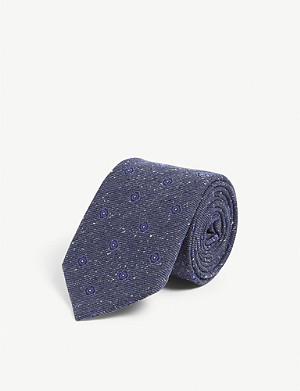 CANALI Flocked floral print silk and wool-blend tie