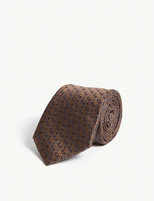 CANALI Hexagon print silk tie