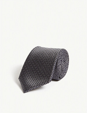 CANALI Diamond grid print silk tie