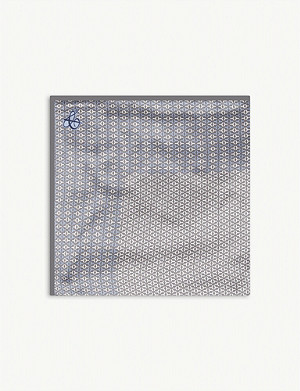 CANALI Geometric print silk pocket square