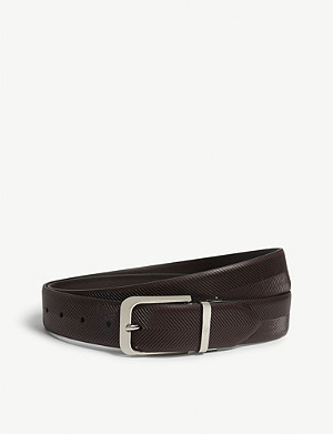CANALI Engraved leather belt