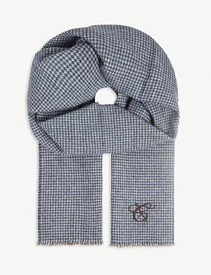 CANALI Houndstooth silk and cashmere-blend scarf