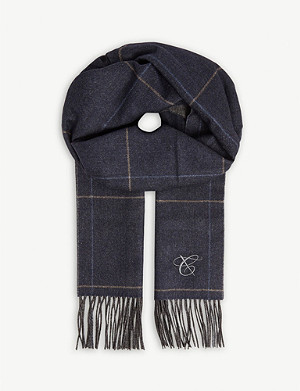 CANALI Checked cashmere and silk-blend scarf
