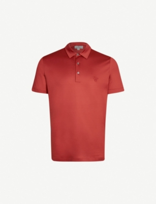 CANALI Logo-embroidered cotton-jersey polo shirt
