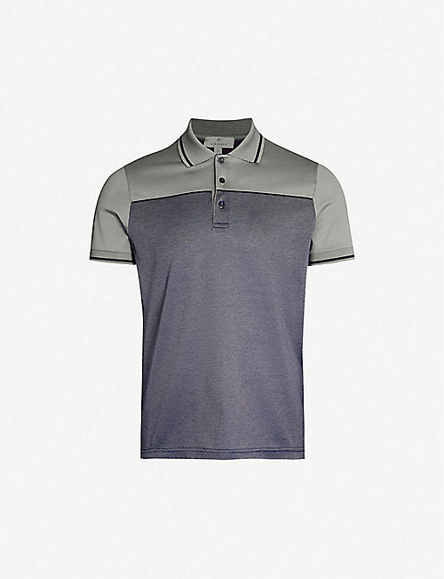 CANALI Block-colour cotton-piqué polo shirt