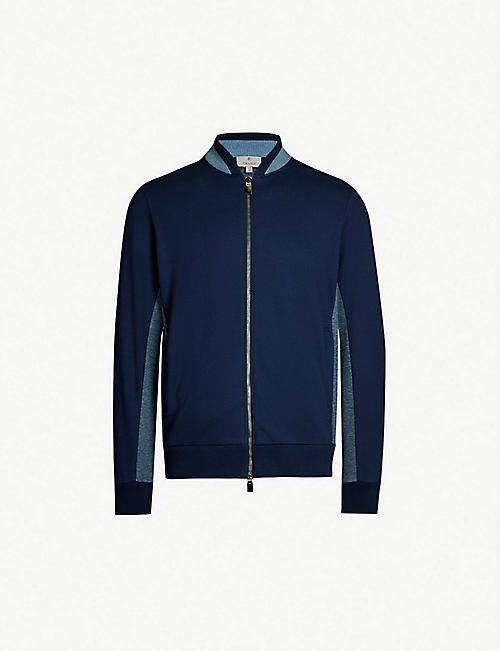 CANALI Contrast-panel stretch-cotton bomber jacket