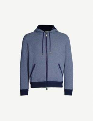 CANALI Two-tone cotton-blend hoody