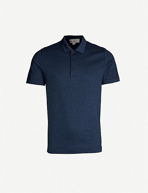 CANALI Woven cotton polo shirt
