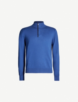 CANALI Funnel-neck suede-trimmed cotton jumper