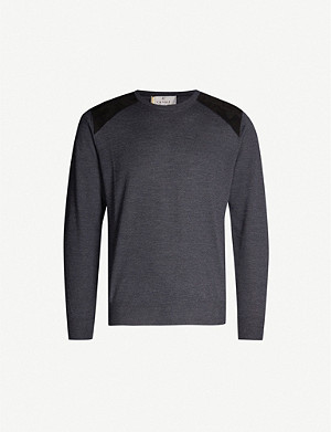 CANALI Suede shoulder-patch fine-knit wool jumper