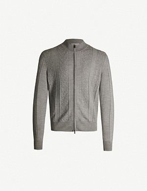 CANALI Zip-up knitted wool cardigan