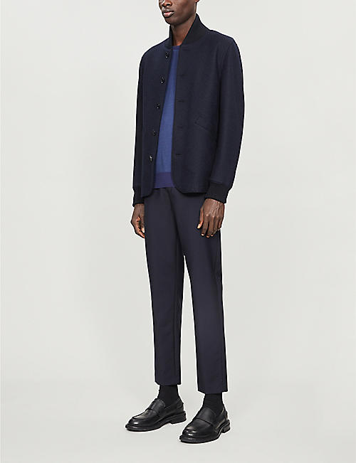 CANALI Geometric-weave cotton-knit jumper