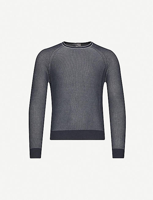 CANALI Contrast striped cotton-knit jumper